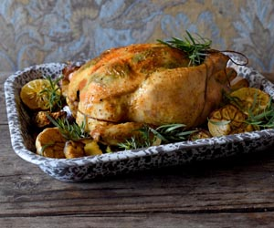 Roast Chicken with saffron and tarragon
