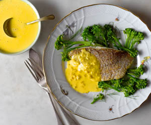 Pan fried fish with saffron beurre blanc